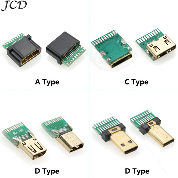 JCD 5pcs/lot HDMI A Type C Type D PCB Board Bond Wires Seals HD HDMI Socket Connector Female gold-plated
