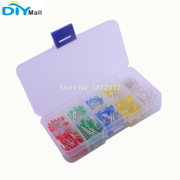 200pcs/set 5mm 3mm Round Ultra Bright Diffused Light Emitting Diode Lamp DIY Kit with Plastic Box