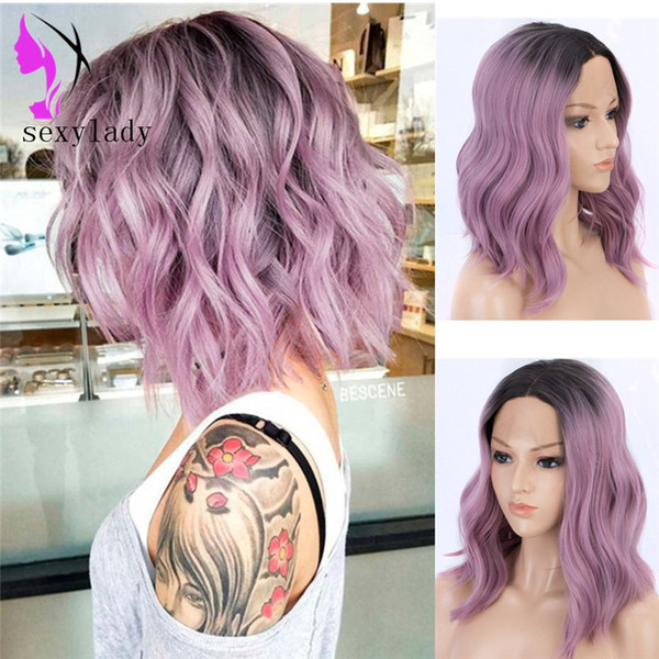 Hotselling Black Ombre light purple wig Heat Resistant Hair Anime Cosplay Short Synthetic Lace Front bob wig for women