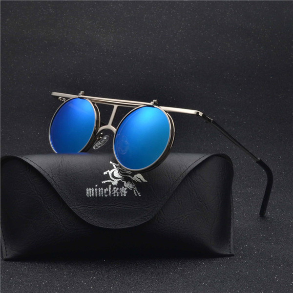 Flip Up Polarized Sunglasses Classic punk Men Women Sunglasses Metal Top Quality Brand Designer Vintage Glasses UV400 FML