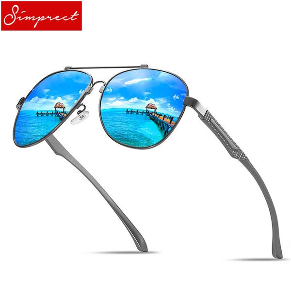 SIMPRECT Retro Pilot Sunglasses Men Polarized UV400 High Quality Aluminium Magnesium Memory Metal Driving Mirror Sun Glasses