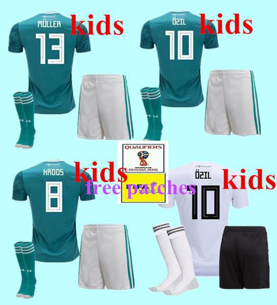 2018 kids soccer jersey kit+sock away green muller HUMMELS 18 19 GORETZKA OZIL KROOS sane DRAHLER WERNER boys child football uniform shirts.