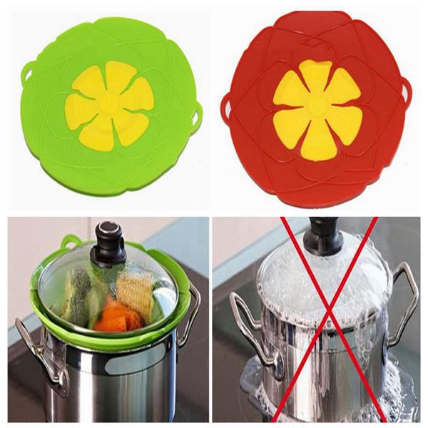 Dökülme Stoper Silikon Çiçek Taç Pişirme Pot Kapakları Kapak Kaynatın Stoper Tencere Parçaları 4 Renkler Mutfak Aksesuarları LDH210