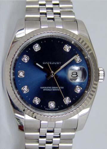 Orologio di lusso Datejust Gold Steel Blue Diamond Dial 116234 Rehaut Jubilee - Orologio WATCH CHEST Mens