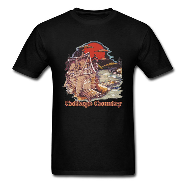 Cottage Country T-shirt For Man  Vintage T Shirt Japan Style Tshirts O Neck Tops 100% Cotton Tee Boyfriend Gift Clothing