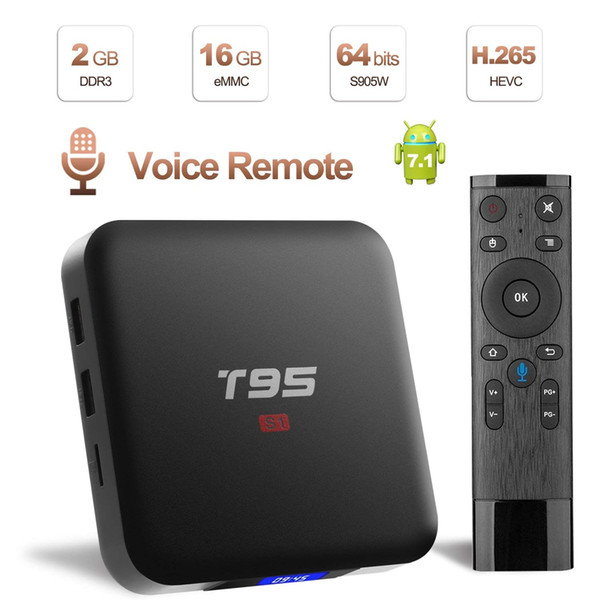 Android TV Box with Voice Remote S1 Android 7.1 Internet Media Streaming Player 2GB RAM 16GB ROM Amlogic S905W Wifi