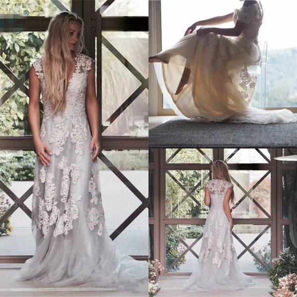 2019 Новый Дизайн Кружева Свадебные Платья Линия Cap Рукава Аппликация Свадебные Платья V Шеи Boho Beach Свадебное Платье