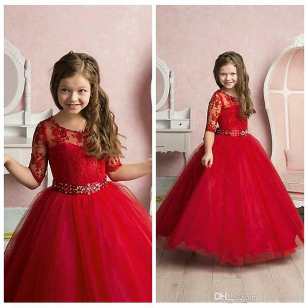 Red New Pricness Flow Girl's Dresses Sheer Crew Neck Half Sleeves Lace Appliques Beaded Belt Elegant Kid's Formal Girls Pageant Dresses