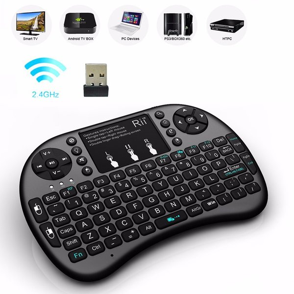 Tastiera wireless Mini Rii i8 2.4G Telecomando tastiera inglese mouse tastiera per Smart TV Box Android Tablet PC