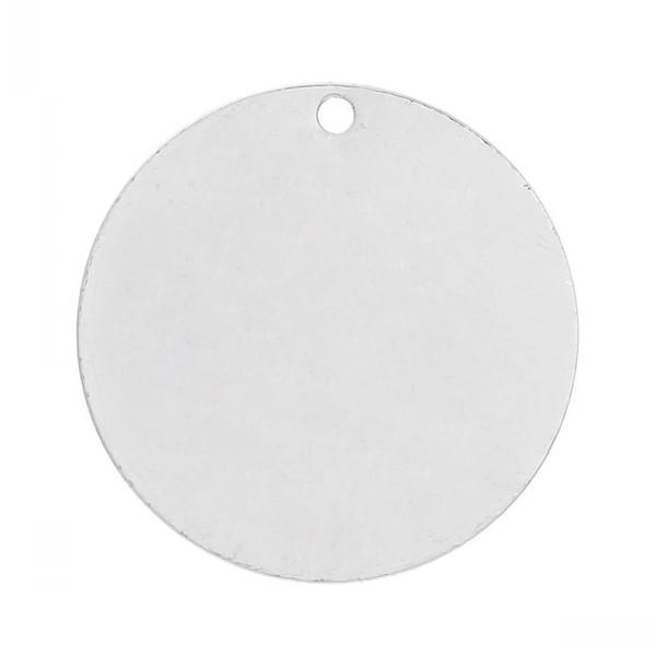 Doreen Caixa de Cobre Etiquetas Em Branco De Estampagem Pingentes Redondos para Colares Brincos Pulseiras cor Prata 25mm (1