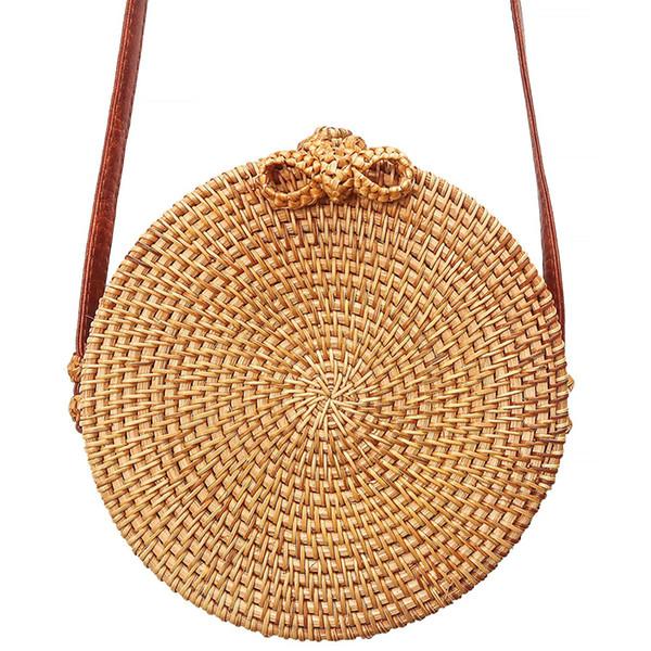 DSAKGTE Women Handbags Woven Rattan Bags Luxury Boho Round Straw Bag 2018 Designer Circle Crossbody Bags For Women Bali Bag