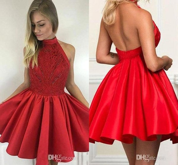 2018 New High Neck Red Lace Top Homecoming Abiti corto senza maniche in raso mini abiti da cocktail party BA9627