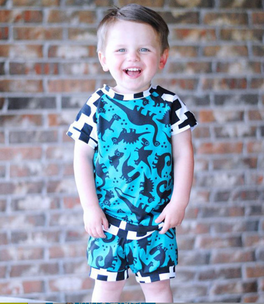 Summer Kids Boys Dinosaur Blue Clothing Tops+Short 2PCS set Cross Pattern Infant Baby Casual Clothes Toddler Summer Kids Sportswear