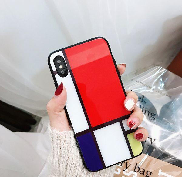 Yunrt coréia colorblock estilo vidro shell para apple mobile shell personalidade x / 8 mais homens e mulheres iphone7 6 ps 6 / all inclusive