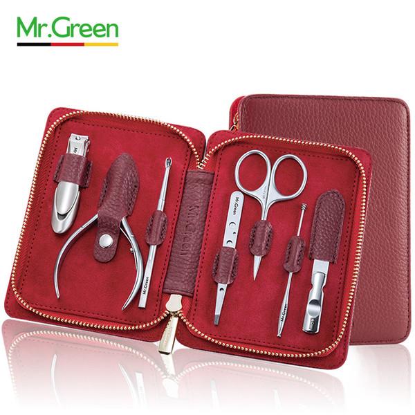 Г-н Зеленый 7 шт. маникюрный набор педикюр ножницы пинцет нож уха забрать кутикулы ногтей Clipper комплект