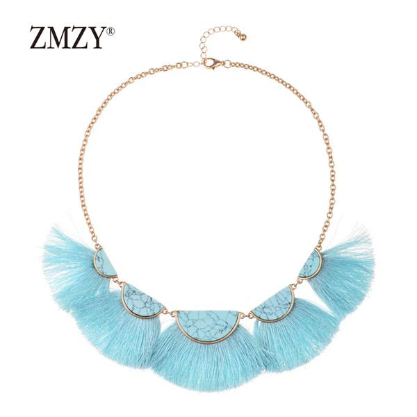 ZMZY Tassel Necklace With Chain For Women Big Ethnic Necklace Bohemia Choker Statement Boho Jewelry Drop Shipping