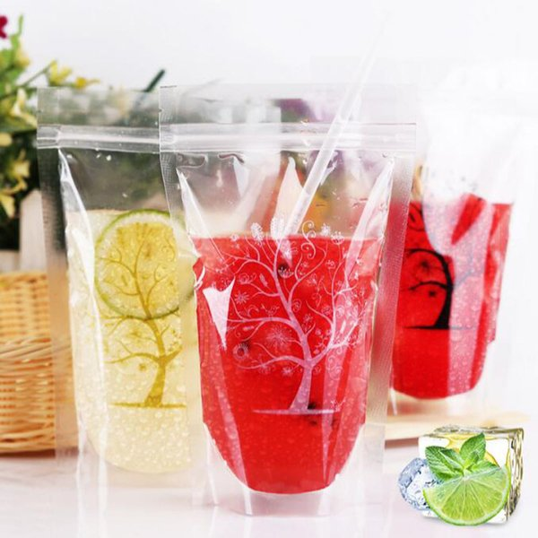 Transparent Clear Color Standing Beverage Bags Thick Self-seal Drinks Pack Drink Pouches Plastic Drink Bag QW8777