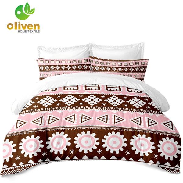 Sweet Pink Bedding Set Women Geometric Striped Duvet Cover Boho Pillowcase Soft Bedclothes Sheet Cover bedding outlet D35
