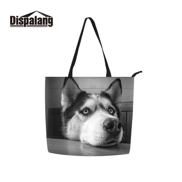 Husky Dog Print Shoulder Handbag Animal Pattern Casual Tote Bag for Women Ladies Shopping Bag Lightweight Beach Hand Girls