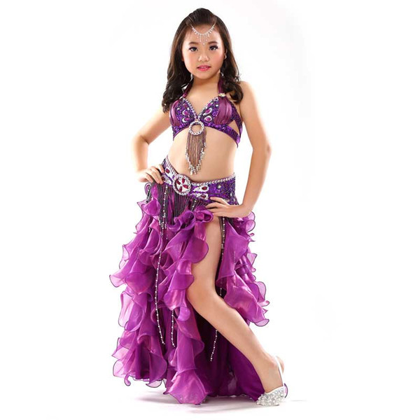 6e74c27d4 Indian Sari Girls Dress Orientale Bellydance Costumes For Kids Oriental Belly  Dance Costumes Belly Dancing Clothes 3PCS SET