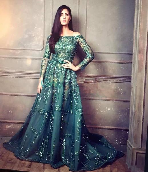 Nuevo lujo Ziad Nakad Esmeralda con cuentas de cristal Vestidos de noche Vestidos Modest Illusion Manga larga Árabe Dubai Vestidos de baile Zuhair Murad DH4129