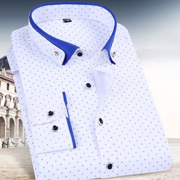 Polka Dots Printing Long Sheeve Dress Shirts For Men Button-down Shirt Business Formal Clothes Male Wedding Apparel Spring 2018
