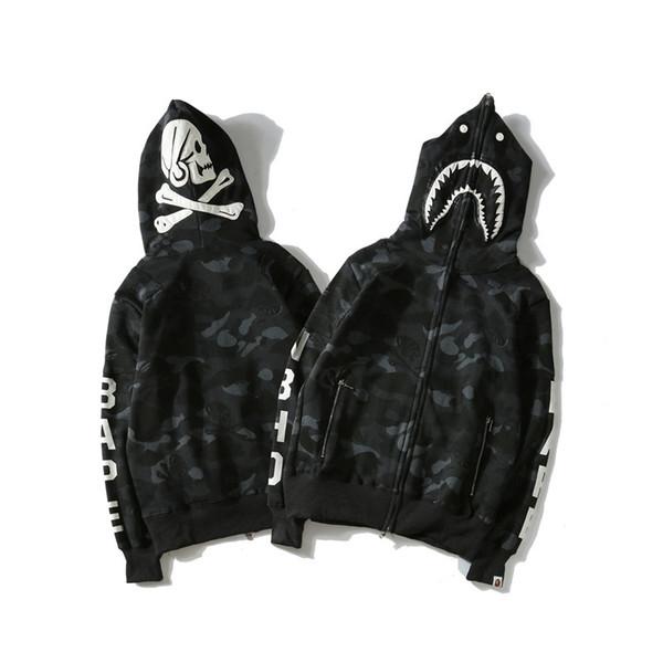 Venta al por mayor de los hombres; S Hip Hop sudaderas con capucha de lujo Shark boca Cráneo Chaquetas de impresión Hombres Mujeres Chaquetas casuales Jogger ropa deportiva alta
