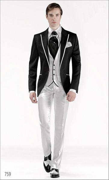 New Groom Tuxedos Mans Prom fashion Suits Wedding Suit For Men Best Man Tuxedos Slim Fit black men suit( jacket+Pants+vest+tie)