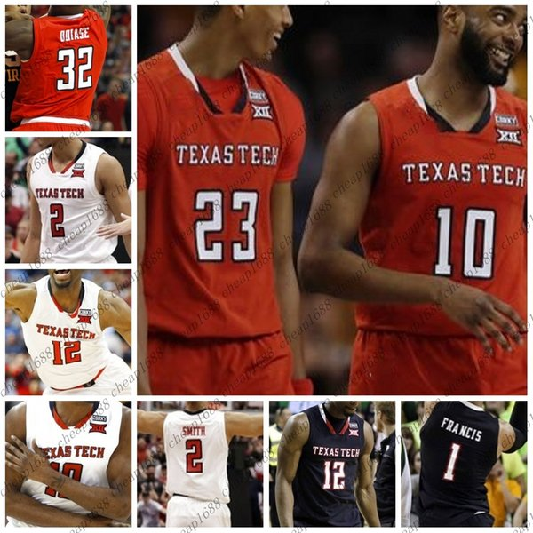 sports shoes 8b98e 7e391 2019 Texas Tech NCAA College Basketball 12 Keenan Evans 2 Zhaire Smith 23  Jarrett Culver 10 Niem Stevenson Stitched Any Name Number Jersey From ...