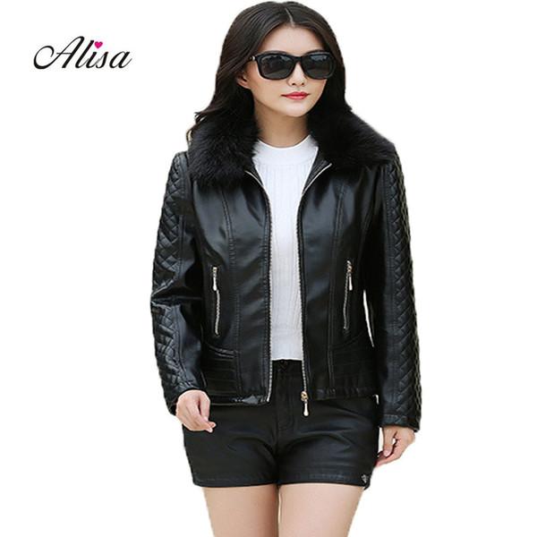2018 New Winter Female 6xl Big Size Leather Jacket Faux Fur Collar Long Sleeve Keep Warm Coat Pu Women Solid Casual Black Jacket