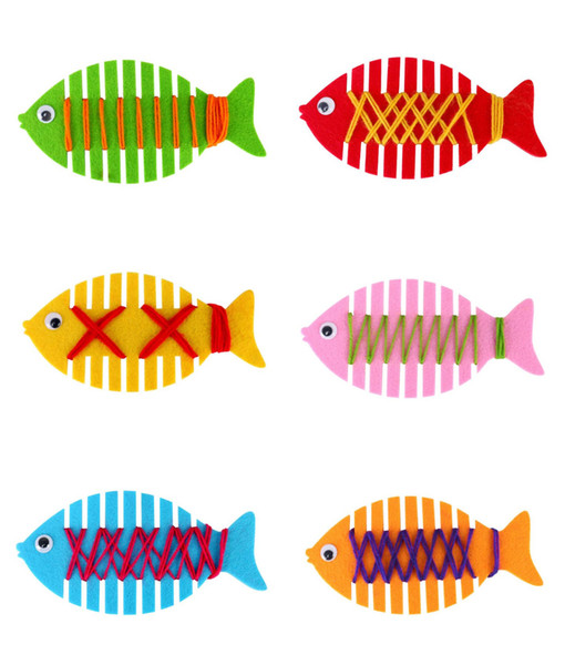 Handmade Non-woven DIY Wrapping Fish Toys Kit Kindergarten Early Learning Educational Braid Toy Party Baby Room Decoration Material Tool