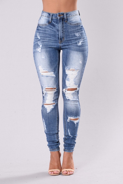 Summer Women Denim High-Waist Ripped Stretchy Hole Pencil Pants Jeans Trousers