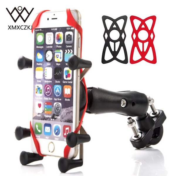 XMXCZKJ Motorcycle Handlebar Bike Phone Mount Holder Support Bicycle With Silicone X-grip Phone Stand For Smartphone GPS Holder C18110801