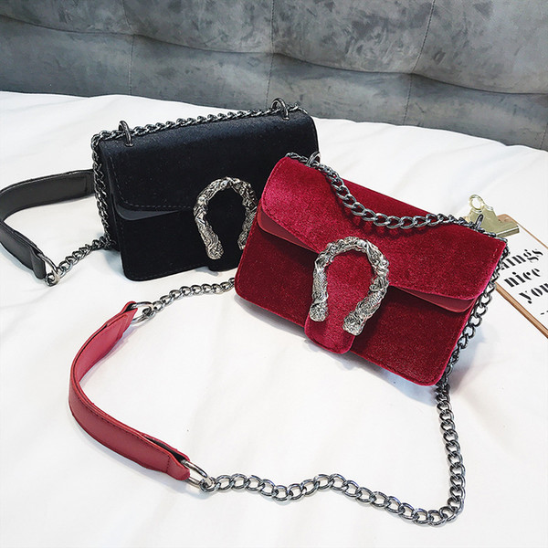 European and American fashion new women velvet PU leather double dragons style chain flap shoulder bag tote purse