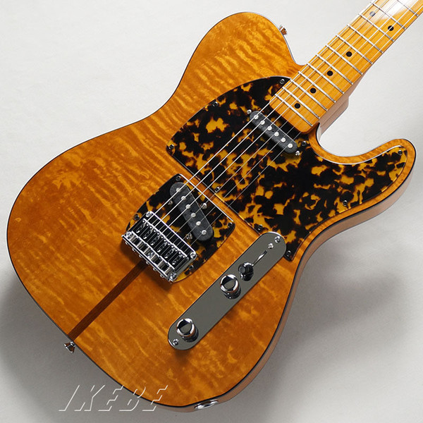 HS Anderson & Hohner Madcat Mad Cat TELE Flame Maple Top Sunburst Electric Guitar Leopard Pickguard, Red Turtle Binding, Vintage Tuners