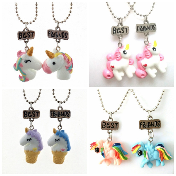2pcs/set my little unicorn pendant necklace best friend bead chain necklace best friendship necklace gift for girls friendship jewelry