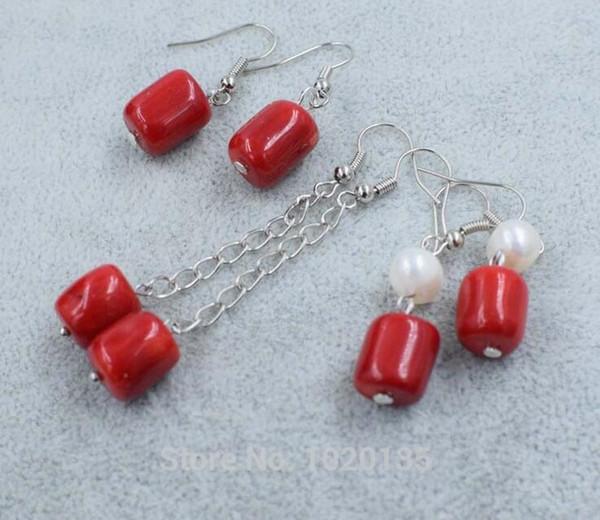 одна пара красный коралловый столб + пресноводный жемчуг белый крюк серьги FPPJ оптовые бусины