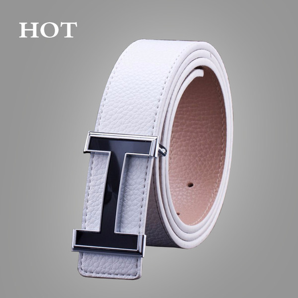 NEW Belts Smooth Buckle Casual All-Match Designer Top Luxury Belts Men Fashion PU Male Leather Belt For Men