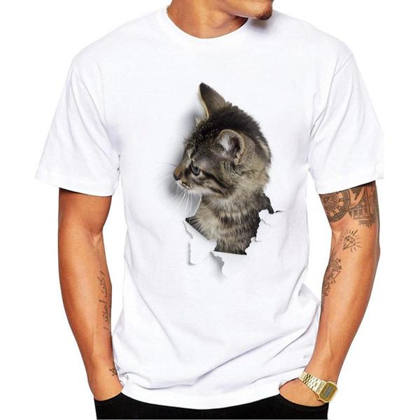 Estate-TEEHEART 3D Cute Cat T-shirt uomo t-shirt Top Tees Stampa animale T-shirt Uomo o-collo manica corta Moda magliette Plus Size
