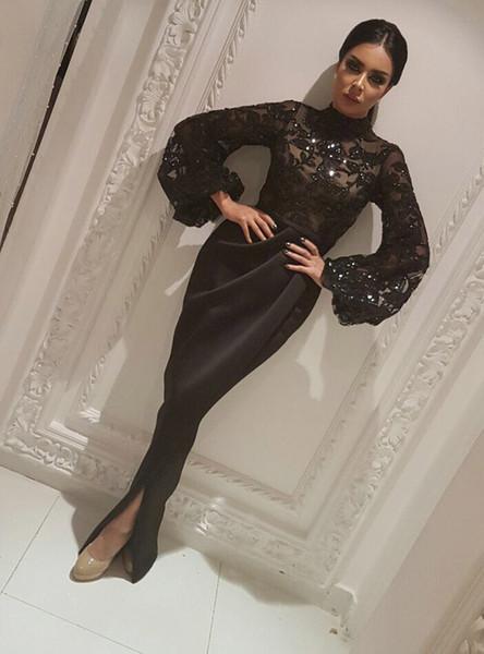 Arapça Siyah Aplikler Yüksek Yaka Gelinlik Modelleri Mermaid Vintage Uzun Kollu Seksi Bölünmüş Sheer Fırfır Abiye giyim
