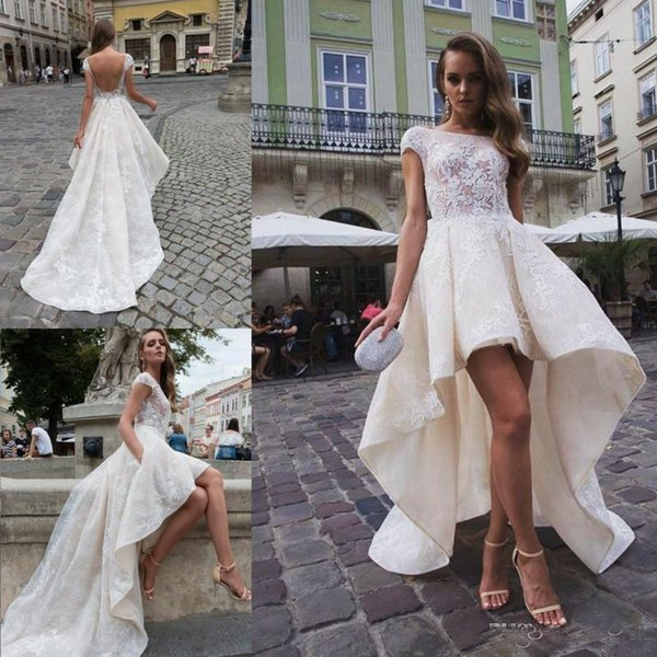 Fashion Summer High Low Ivory Lace Wedding Dresses With A-line Cap Sleeves Backless Bateau Neck Short Bridal Gowns Custom Made