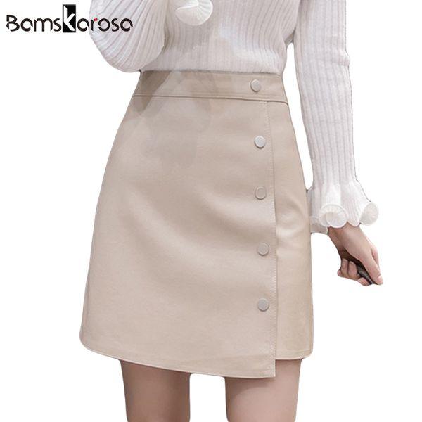 6e1c881a3 Compre Otoño Invierno Falda De Cuero De Imitación Cintura Alta Falda De Las  Mujeres Un Solo Pecho Femme Elegante Oficina Mini Falda Señoras Faldas ...