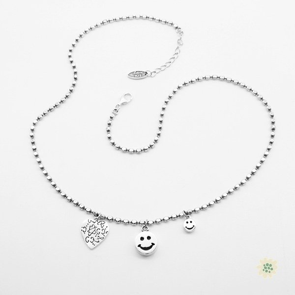 Retail Exquisite 925 Silver Jewelry Smile Faces Carved Heart Beaded Chain Necklace Lovely Retro Hand Made Woman Silver Necklace