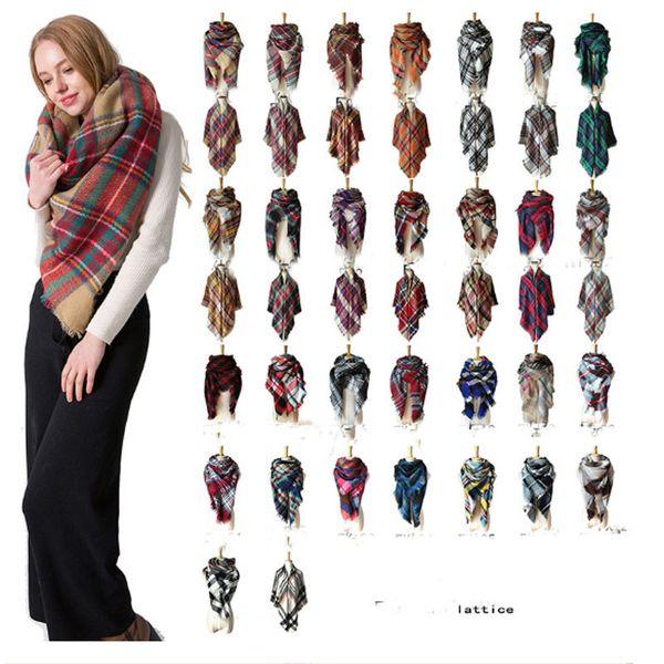 2018 Bufanda de triángulo de invierno Tartán Bufanda de cachemira Mujeres Manta a cuadros Bufanda Nuevo diseñador de acrílico chales básicos Bufandas de las mujeres Wraps 179 color