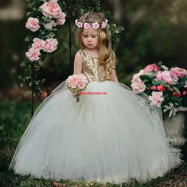 Compre Lentejuelas Doradas Ivory Flower Girl Dresses Primera Comunión De Las Muchachas 2018 Vestido De Bola Del Cuello Redondo Niñas Vestidos Del