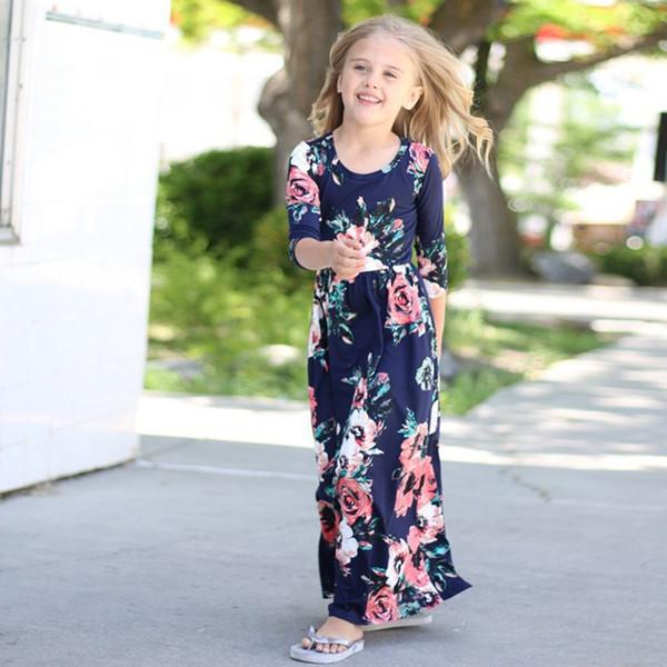 2018 New Fashion Baby Girls Kids Beautiful Dress Long Sleeve Printed Dress Baby Girls Children Long Skirt