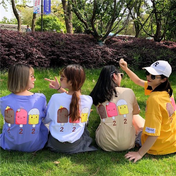 Kadın T-shirt Komik Sevimli Karikatür Fare Üstleri Kısa Kollu Harajuku T Shirt Yaz Moda Kadın Bayanlar Casual Slim Tees sisters