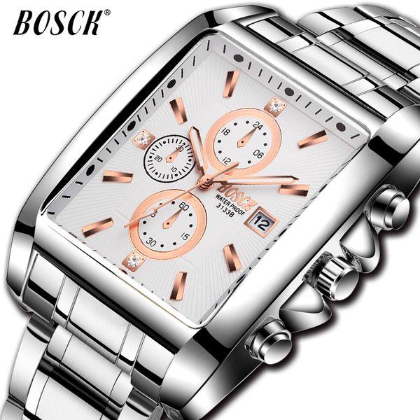 BOSCK Fashion Business Watch for Men Top  man square Quartz Watch Sport Full Steel Waterproof clock affordable 2018