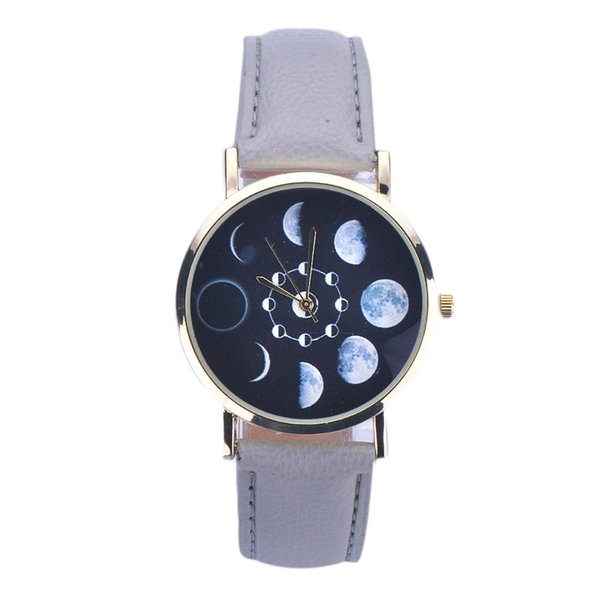 Mens Unisex Moon Phase Pattern Dial Case PU Leather Analog Quartz Wristwatch