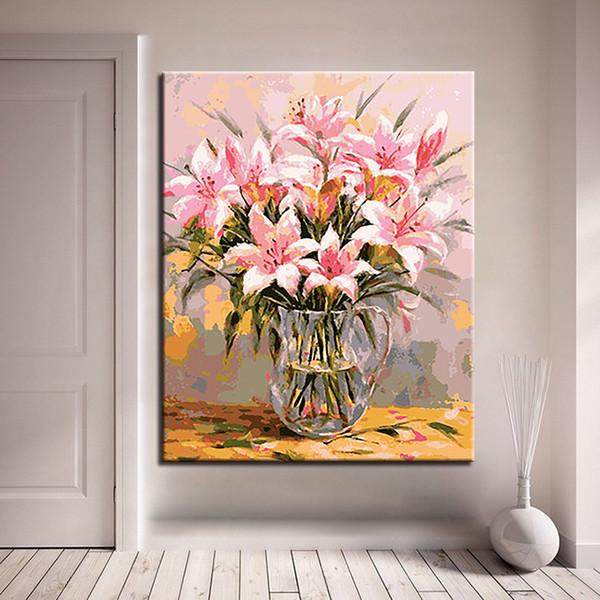 Compre Pintura Al óleo De Bricolaje Por Kits De Los Números Para Colorear Dígitos Lirios Rosa Flores Fotos Dibujo En La Lona Decoración Del Hogar